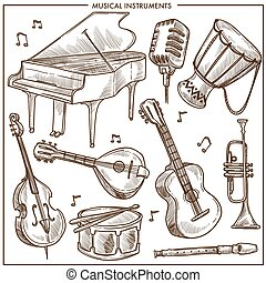 Musical instruments vector sketch icons collection for folk ...