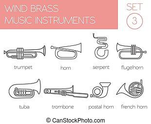 Musical instruments. Wind brass