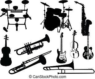 musical, jogo, instrumentos