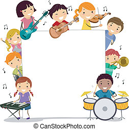 Musical Kids - Illustration of Kids Holding Musical...