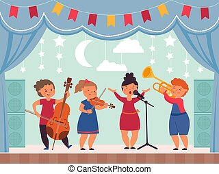 Musical kids on stage. School theater, girl singing or drama concert. Children music festival or show, modern young band decent vector illustration