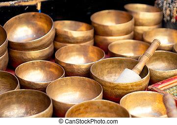 musical, laiton, placé, mcleodganj, magasin, pradesh, chant, bols, himachal
