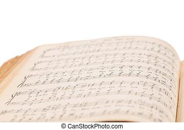 musical, livre, composition, ouvert