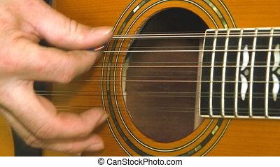 musical, mains, instrument, guitariste