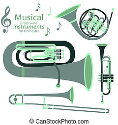 musical, metais arejam, instrumentos, para, orquestra