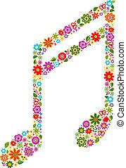 musical, modèle, note, fleurs