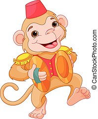 Musical Monkey - Illustration of cute monkey playing...