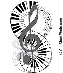 musical - Musical notes staff with piano keyboard. Vector...