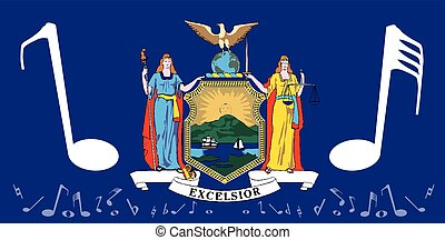 Musical New York State Flag - The flag of the state of New...