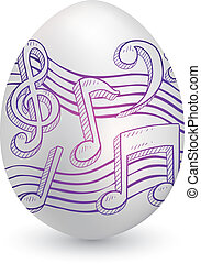 Musical notation on easter egg - Doodle style music notes...