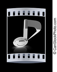 musical note 3D on black background. The film strip
