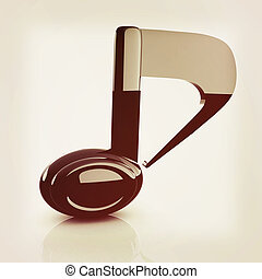 musical note 3D on white background . 3D illustration. Vintage style.