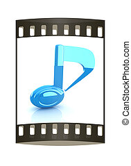 musical note 3D on white background. The film strip