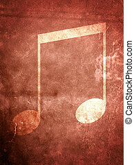 Musical Note - A musical Note on a textured grunge...