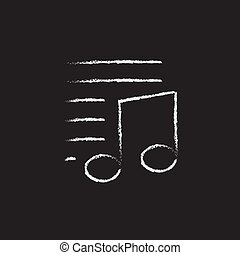 Musical note and lines icon drawn in chalk.