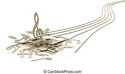 Musical Note - Concept of the end music.