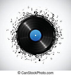 Musical Note from Disc - illustration of music note from...