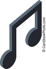 Musical note icon, isometric style