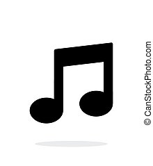 Musical note icon on white background.