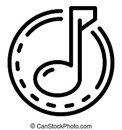 Musical note icon, outline style