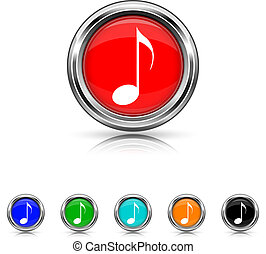 Musical note icon - six colours set