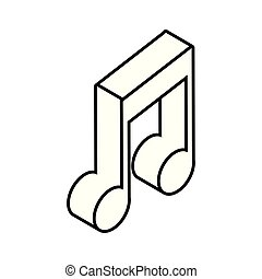 musical note in 3d on white background