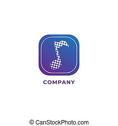 Musical note in halftone style with rounded square shape. Blue purple color gradient. Logo design template isolated on white color background. Vector illustration.