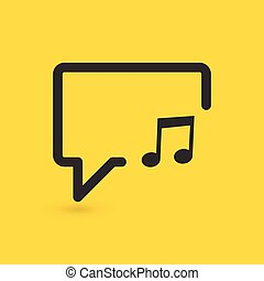 Musical note in speech bubble line icon. Music sign. Vector illustration.