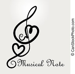 Musical note love heart logo