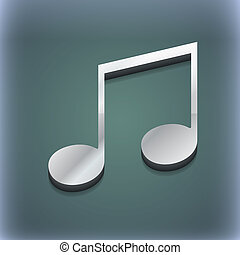 musical note, music, ringtone icon symbol. 3D style. Trendy,...