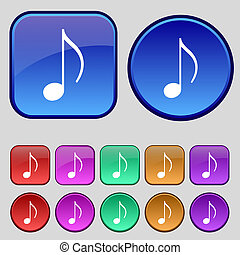 musical note, music, ringtone icon sign. A set of twelve...