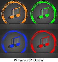 musical note, music, ringtone icon symbol. Fashionable...
