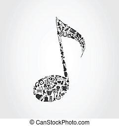 Musical instruments are collected in the note. A vector illustration