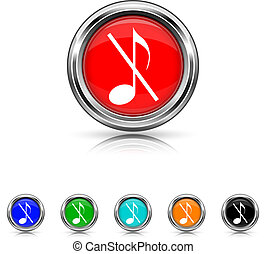 Musical note - no sound icon - six colours set