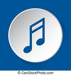 musical note - simple blue icon on white button