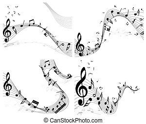 Musical note staff set. Four images. Vector illustration.
