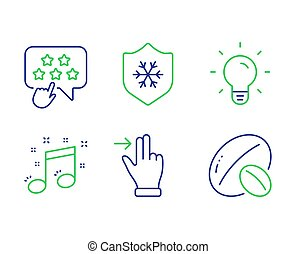 Musical note, Touchscreen gesture and Ranking star icons set...