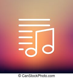 Musical note with lines thin line icon - Musical note with...