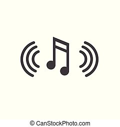 Musical Note with Sound Wave Icon Denoting Music Soundwave...