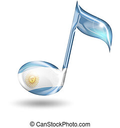 musical note with the colors of the Argentine flag