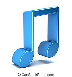 musical, noteisolated, em, branca, experiência., 3d, fazendo, ilustração