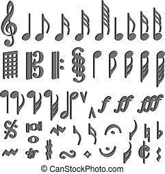 musical notes 3D