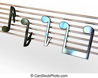 Musical notes.