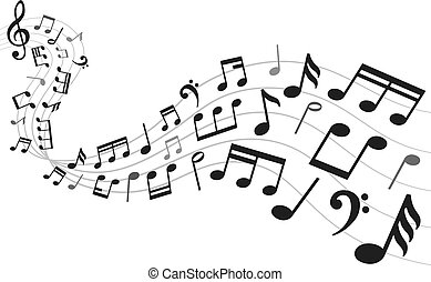 Musical notes background. Music notation sheet, sound melody and note symbols vector illustration