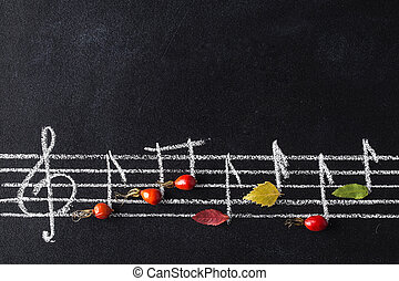 Music scale with treble clef and notes on chalkboard.