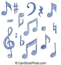 Musical notes - Sketched drawings of musical symbols