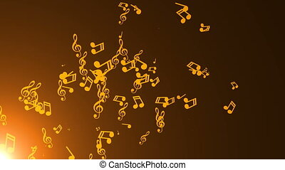 Musical notes float. Abstract background