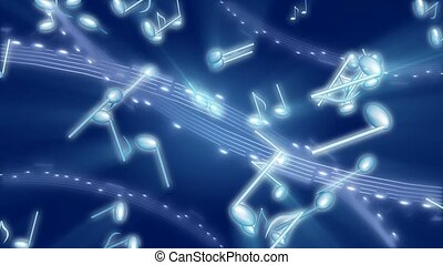 Musical notes floating in space