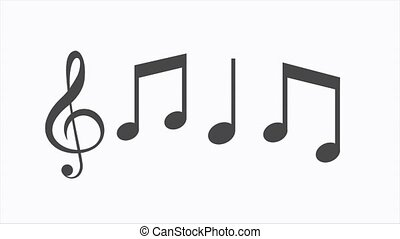 Musical Notes Flying on white background. Motion graphics