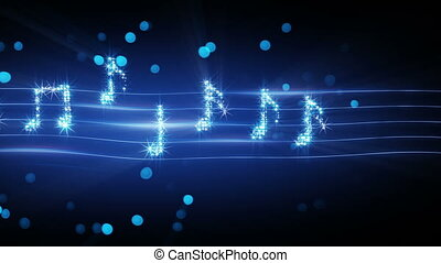 musical notes from fireworks loopable animation